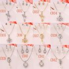 18K Gold Plated Crystal Pearl 12 Styles Women Necklace Earrings Jewelry Sets