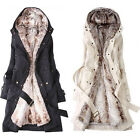 new perfect Thicken Fleece Faux Fur Warm Winter Coat Hood Parka Overcoat Jacket