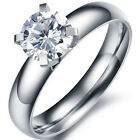 Stainless Steel Wedding Engagement Forever Love Round Clear CZ Ring Sizes 5-12
