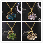 In 4 Colors Women 14k Gold Filled Austrian Crystal Swan Pendant Necklace Jewelry