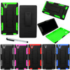 For ZTE Z Max Z970 Tank Holster Combo Impact Case Phone Cover + Stylus NEW