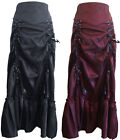 SIZES 8-28 BLACK BURGUNDY GOTHIC RUCHED LONG STEAMPUNK LADY SATEEN CORSET SKIRT