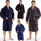 Mens Polar Fleece Dressing Gown Bath Robe Super Soft Warm Winter Cosy MN2324