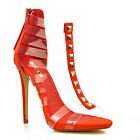NEW Ladies Orange Red See Through Straps Gold Stiletto Heels Sandals Shoes Size