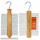 NATURAL WOODEN TIE HANGER RACK GARMENT CLOTHES COAT GIFT IDEA HANGERWORLD