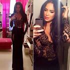 Sexy Women Lace Thigh Split Deep V Neck Gown Ball Party Cocktail Long Maxi Dress