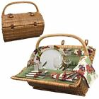 Picnic Time Barrel willow Picnic basket w/ service for two