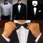 2Pcs Fashion Men's Adjustable Solid Colors Bow Tie Polyester Wedding Prom Party