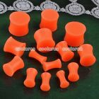 Pair Pick Gauge Orange Solid Silicone Double Flared Saddle Ear Plugs Stretcher