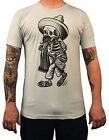 Men's Borracho Opie Ortiz T-Shirt Silver Cowboy Skeleton Mexican Tattoo Artist
