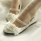 Retro Vintage Royal Across Pearl Wedding Dancing Lace shoes High Heels