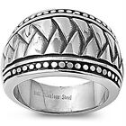 Stainless Steel Abstract Biker Tribal Tattoo Design Wide Band Ring Sizes 8-16