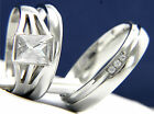New Stainless Steel Men's Women's Engagement Wedding Band 1.06 ct CZ Ring Set
