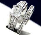 1.24 carat Clear Solitaire CZ Engagement Wedding Brass Band Ring Sets