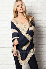 NAVY BLUE 54 CROCHET TUNIC Top V-Neck Long Sleeve Bohemian Boho Shirt S M L XL