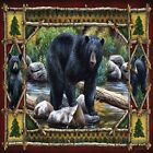 BLACK BEAR RUSTIC CABIN #1 IMAGE FABRIC/RUBBER BACK COASTERS  U PICK SET SIZE
