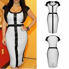Sexy Womens White Zip Front Bodycon Cap Sleeve Pencil Midi Dress Party Cocktail