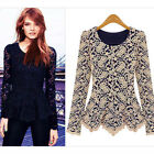 New Womens Ladies Crochet Floral Lace Blouse Long Sleeve Peplum Shirt Slim Tops
