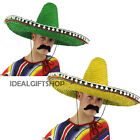 25 x LARGE SOMBRERO GREEN YELLOW MEXICAN PARTY FANCY DRESS COSTUME MENS LADIES