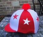 Lycra Riding Hat Silk Skull cap Cover WHITE & RED * STARS With OR w/o Pompom