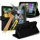 PU Leather Flip Wallet Book Case Cover & Tempered Glass For Microsoft Lumia 535