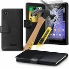 PU Leather Flip Wallet Book Case Cover & Tempered Glass For Sony Xperia E3