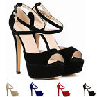 WOMENS VELVET HIGH HEELS OPEN TOE CORSET COURT SHOES STILETTO SANDALS SIZE 3-9