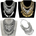 Statement Gold Silver Noble Chain Crystal Layers Choker Bib Pendant Necklace