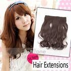 Hot Women Lady Synthetic Curly Wavy Onepiece Clip Hair Extension Hairpiece 40cm