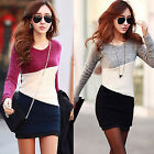 Good goods 2015 Sleeve Knitted Jumper Sweater Tops Pullover Bodycon Mini Dress
