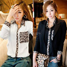 Womens Ladies Leopard Print Loose Long Sleeve Chiffon Blouse T Shirt Tops