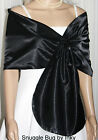 Gorgeous BLACK Satin Pull-through Shawl Wrap Perfect for Bridal Formal NEW