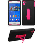 Blk Pnk 2-Layer V Stand Cover Case Sony Ericsson Verizon D6708 D-6708 Xperia Z3v
