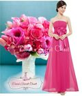 BNWT AURORA Hot Pink Fuchsia Chiffon Maxi Prom Evening Bridesmaid Dress 6 - 18