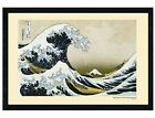 Black Wooden Framed The Great Wave of Kanagawa Poster 91.5x61cm