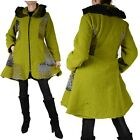 LAGENLOOK LANA WOLLE MANTEL TRENCH COAT 40 42 44 46 48 PATCHWORK M L XL ÜBERGANG