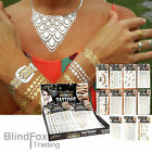 1 Sheet Metallic Temporary Tattoo Flash Bright Silver Gold Tattoos Tats Bling