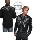 P-706blk-ds Scully Western Cowboy Shirt Vintage Jet Floral Embroidered Fancy