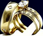 Gold Tone 2.17 CT CZ Solitaire Engagement Stainless Steel Wedding Band Ring Set