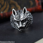 Men 316L Stainless Steel Gothic Rock Biker Ring Wolf Head Size 9-13