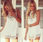 Celeb Sexy Women Chiffon Lace Party Evening Tops Summer Short Beach Shift Dress