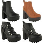 LADIES WOMENS NEW ANKLE BOOTS HIGH CHUNKY BLOCK HEEL BIKER CHELSEA BOOTS SIZE