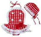 Girls Vintage Red White Check Tutu One-Piece Swimsuit Swimwear Hat 2pcs Set
