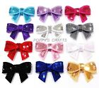 3 SEQUIN BOWS 45mm wide (APPROX. 1.75 INCHES)  - CHOOSE COLOUR crafts headbands