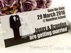 Personalised Tuxedo & Gown Entrance Ticket Design Save the Date Tags