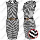 WOMENS LADIES STRIPE PANELS BUCKLE SLEEVELESS BODYCON SHIFT PARTY DRESSES