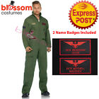 Top Gun Pilot Flight Aviator Suit Mens Fancy Dress Adult Costume