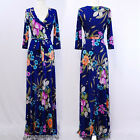 ROYAL BLUE TROPICAL FLORAL Jersey MAXI DRESS Faux Wrap LONG Skirt BOHO vtg S-M-L