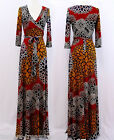 SPICE FLORAL Boho MAXI DRESS Jersey FAUX WRAP Long Skirt CRUISE Travel S M L