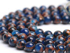 new 6 8 10 12mm blue Sapphire Emerald in Quartz with Pyrite Round Beads 15""